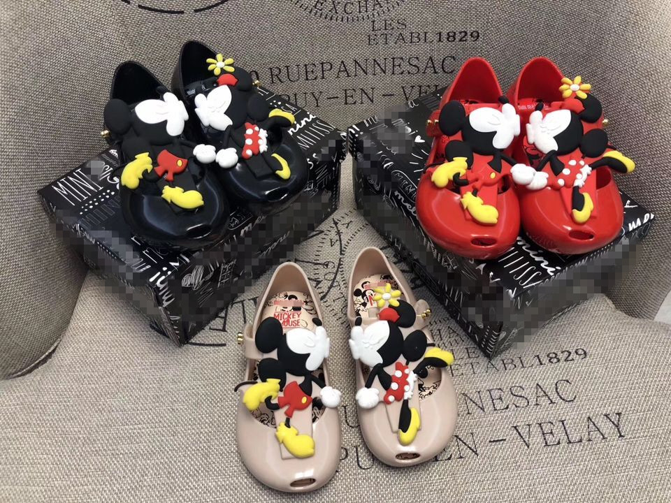 18b632cfac34 Mickey Mouse Cartoon Baby Sandals Beach shoes Child Jelly shoes ...